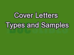 Cover Letters Types and Samples