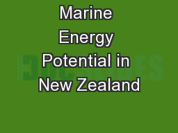 Marine Energy Potential in New Zealand