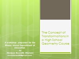 The Concept of Transformations in a High School Geometry Course