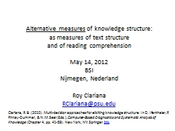 1 Alternative measures  of knowledge structure: