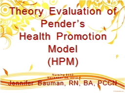 Theory Evaluation of Pender�s