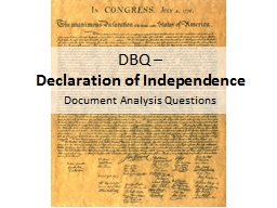 DBQ �  Declaration of Independence