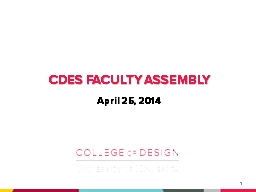 CDES Faculty assembly April 25, 2014