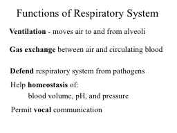 Ventilation  - moves air to and from alveoli