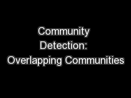 Community Detection: Overlapping Communities