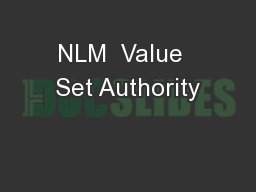 NLM  Value  Set Authority