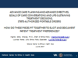ADVANCE CARE PLANNING AND ADVANCE