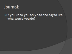Journal: If you knew you only had one day to live what would you do?