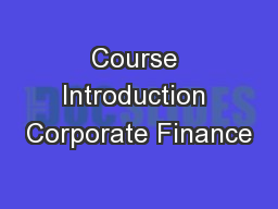Course Introduction Corporate Finance
