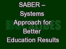SABER – Systems Approach for Better Education Results