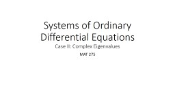 Systems of Ordinary Differential Equations