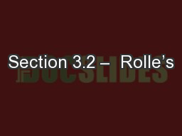 Section 3.2 –  Rolle's
