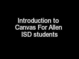 Introduction to Canvas For Allen ISD students