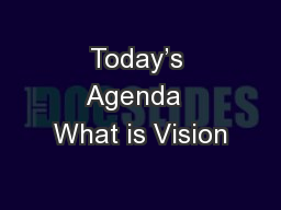 Today's Agenda  What is Vision