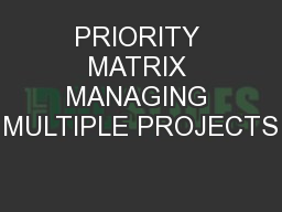 PRIORITY MATRIX MANAGING MULTIPLE PROJECTS