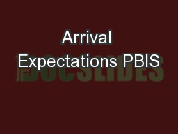 Arrival Expectations PBIS
