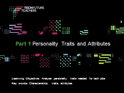 Learning Objective:  Analyse personality traits needed for tech jobs