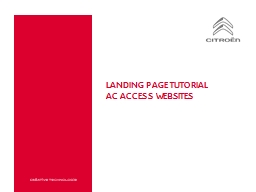 Landing page tutorial AC Access websites