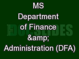 MS Department of Finance & Administration (DFA)