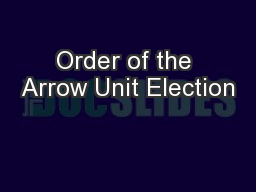 Order of the Arrow Unit Election