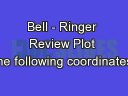 Bell - Ringer Review Plot the following coordinates: