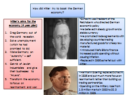 How did Hitler try to boost the German economy?