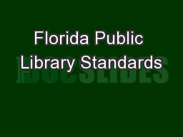 Florida Public Library Standards