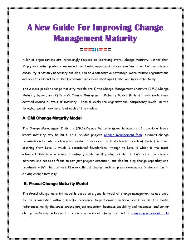 A New Guide For Improving Change Management Maturity