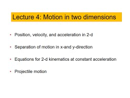 Position, velocity, and acceleration in 2-d
