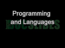 Programming and Languages PowerPoint PPT Presentation