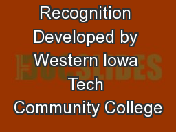Fall Recognition Developed by Western Iowa Tech Community College