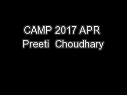 CAMP 2017 APR Preeti  Choudhary