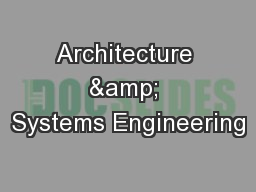 Architecture & Systems Engineering