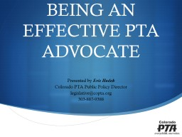 BEING AN EFFECTIVE PTA ADVOCATE