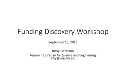 Funding Discovery Workshop PowerPoint PPT Presentation