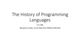 The History of Programming Languages PowerPoint PPT Presentation