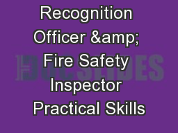 Hazard Recognition Officer & Fire Safety Inspector Practical Skills