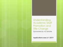 Understanding Academic Staff Promotion and Title Change
