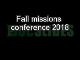 Fall missions conference 2018