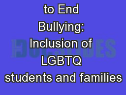 Ally Building to End Bullying: Inclusion of LGBTQ students and families