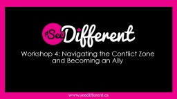 Workshop 4: Navigating the Conflict Zone and Becoming an Ally