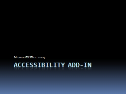 Accessibility Add-in Microsoft Office 2007