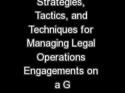 Culture Wars:  Strategies, Tactics, and Techniques for Managing Legal Operations Engagements on a G