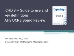 ICHD 3  – Guide to use and key definitions