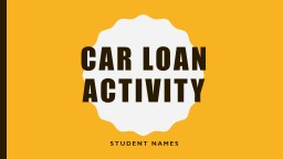 CAR LOAN ACTIVITY Student names