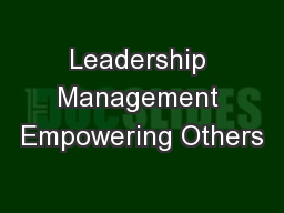 Leadership Management Empowering Others