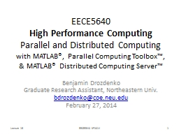 Parallel Computing with MATLAB®
