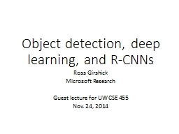 Object detection, deep learning, and R-CNNs