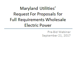 Maryland Utilities� Request For Proposals for