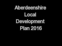 Aberdeenshire Local Development Plan 2016
